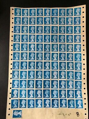 100 2nd class blue UNFRANKED security STAMPS OFF PAPER on sheet +4 FREE £63+face