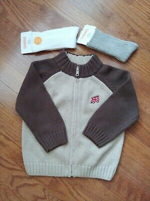 Gymboree Boys Size 18-24 Months Zip Sweater And 2 Pair Of NWT Socks