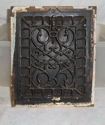 """Antique Ornate Victorian Metal Floor Grate w/ Working Louvers--12"""" by 10"""" Nice"""