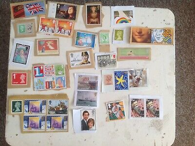 GB Mix Denomination Unfranked Used Postage Stamps On Paper (a)