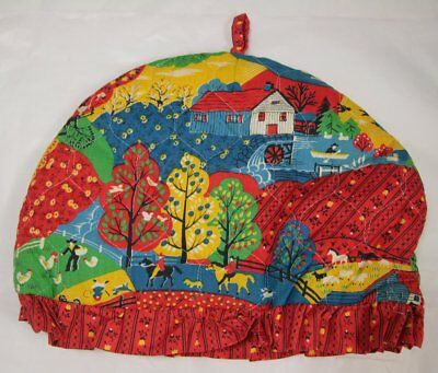 Vintage Tea Cosy + Pot Holders Set Bold Red Graphic Print Fabric w/ Rural Scene