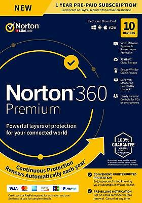 Norton 360 Premium 2020 10 Devices 10 PC Secure VPN Internet Security 2019 Box
