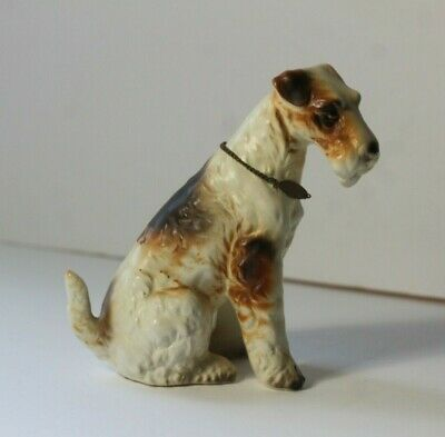 Vintage Wired Haired Fox Terrier Dog Porcelain Figurine with Metal Collar