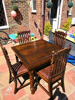 Antique Solid oak Carved Dining Table and 4 Chairs