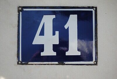Large Vintage French Cobalt Blue and White House Number Plaque 41 Enamel Metal