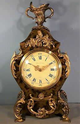 Vintage French HOUR LAVIGNE A PARIS Mantel Clock, Ormolu and Turtle Shell Finish