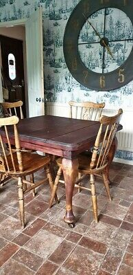 Antique Victorian Kitchen Dinning Table and 4 Chairs