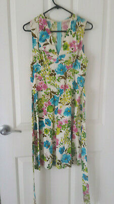 60's 70's Floral Day Dress Large Collar Tie Back 8-10
