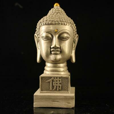 china old copper-plating silver hand-made gold drawing Buddha statue seal e02E