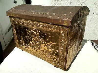 Vintage Wood & Brass Coal / Log Storage Box Chest ~ Ships