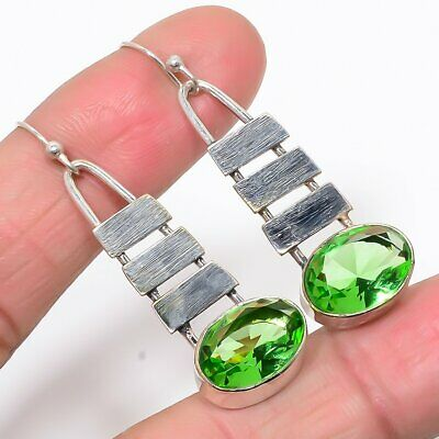 "Matte Finish Burmese Peridot 925 Sterling Silver Antique Look Earring 1.97"" (17)"