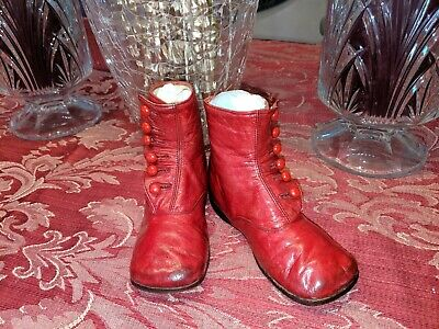 Antique Vintage Old Victorian Red 1900 Era Leather Child Baby Doll Shoe Boots