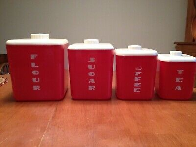 Vintage LUSTRO WARE red and white canister complete set flour sugar coffee tea