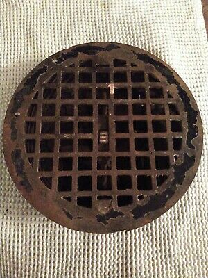 "Vintage VICTORIAN Cast Iron Floor Grille 8"" ROUND Heat Grate Register w/ Louvers"