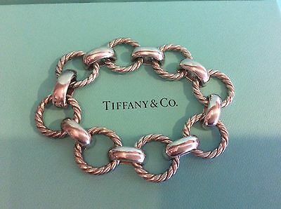 Vintage Tiffany & Co. Chunky Sterling Silver Twist Rope Circle Link Italy Heavy