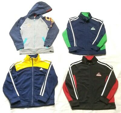 Lot Of 4 Boys Youth Adidas Track Jacket & Hoodie Pullover Full Zip Size 6-7