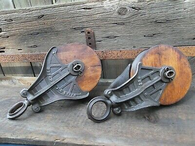 Antique/vintage Cast Iron Wood Myers Barn Pulleys Primitive Rustic  Decor