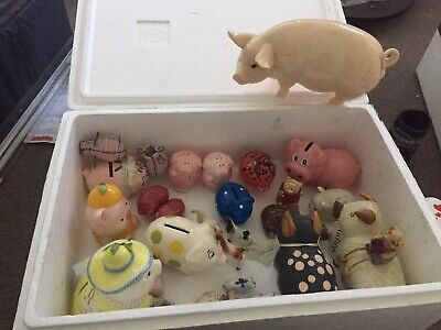 Assorted Pig collection antiques wooden and glass