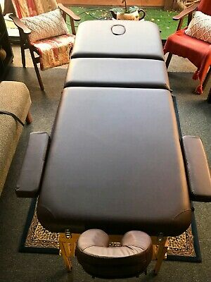 New Portable 3 Fold Wooden Massage Table. Brown With Carry Bag