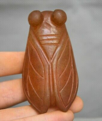 8CM Ancient Hongshan Culture Old Red Crystal Carved Animal Cicada Statue Pendant