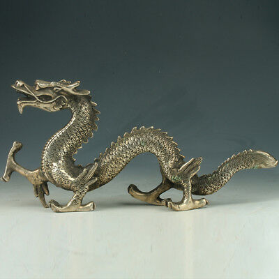 Old Chinese Silve Copper Hand Made Statue carved dragon      E233