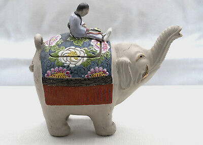 Early 20th c. Japanese Banko elephant and mahout teapot [12106]