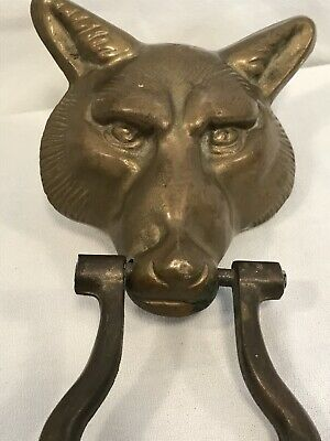 Vintage Solid Brass Large Size FOX HEAD Door Knocker Wolf Coyote
