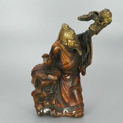 Chinese Exquisite Handmade Old man copper statue