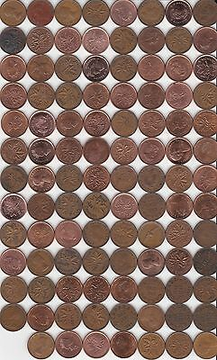 ( 100 ) Different Canada 1c Coins - 1920 to 2012