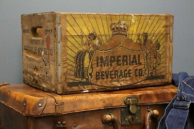 Vintage Antique Wooden Imperial Beverage Co wooden crate Box Beer Crate Soda old