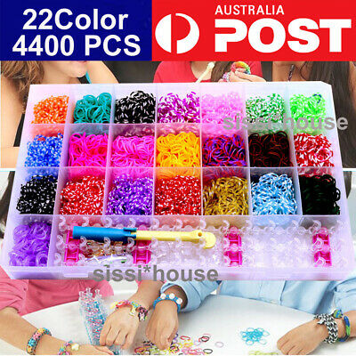 4400 DIY Large Loom bands Rainbow Storage Kit Board Hook Clips Charms Tool Set