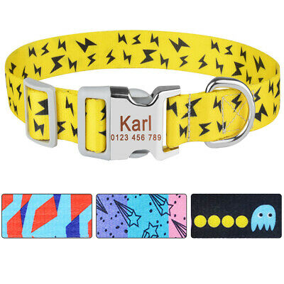Adjustable Personalized Dog Collar Polyester Custom Engraved ID Dogs Name S M L