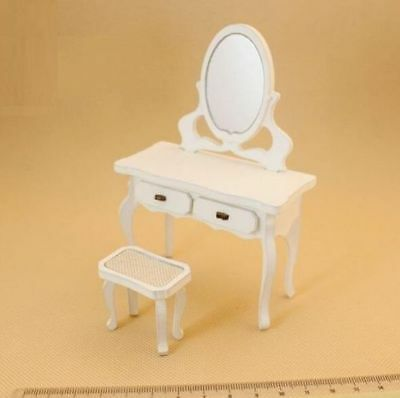1:12 Dollhouse Miniature Doll Furniture Wooden Dresser Drawers With Stool 2PCs #