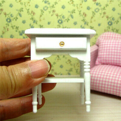 1:12 Dollhouse Miniature Furniture Bedroom White Wood Bedside Table Nightstand ♫