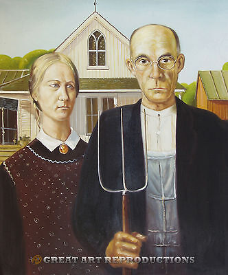 """American Gothic"" by Grant Wood, Reproduction in Oil, 24""x20"""