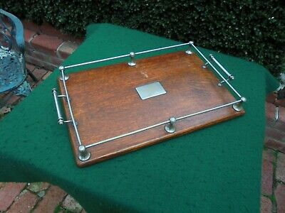 ANTIQUE ENGLISH OAK SERVING TRAY WITH GALLERIES c1930