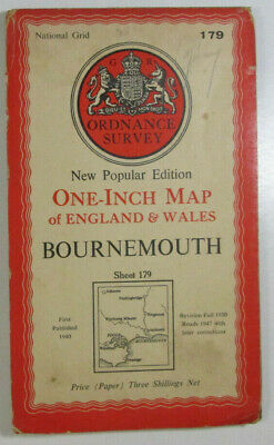 1947 Old OS Ordnance Survey One-Inch New Popular Edition Map 179 Bournemouth