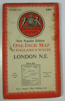 1946 Old OS Ordnance Survey One-Inch New Popular Edition Map 161 London N E