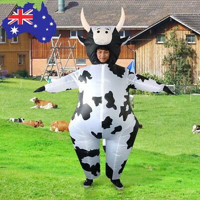 Adult Cow Inflatable Costume Blow Up Xmas Halloween Party Stage Fancy Dress Suit