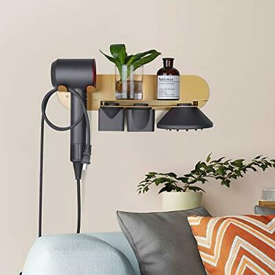 FLE Hair Dryer Holder Wall Mounted with Shelf, Gold Wall Mount Hair Dryer. Ka
