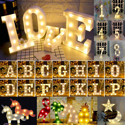 ALPHABET LETTERS LED LIGHT UP NUMBERS WHITE PLASTIC LETTERS STANDING Sign Decor&