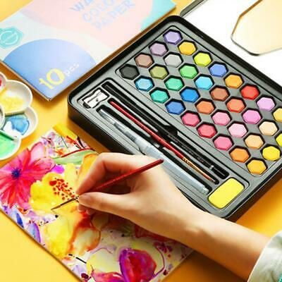 36 Colors Watercolour Paint Set With Brush Water Painting Pen Art Artist Kit Tin