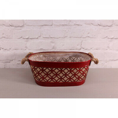 Red Oval Hessian Planter Christmas Decorative Basket Display