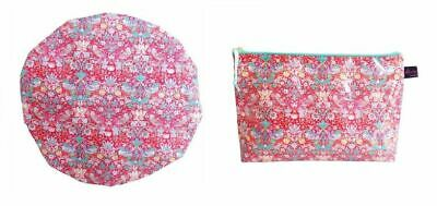 Exquisite Liberty Fabric  Wash Bag and Shower Cap Bath Duo  Strawberry Thief Red