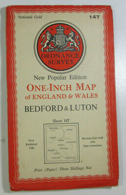 1946 Old OS Ordnance Survey One-Inch New Popular Edition Map 147 Bedford & Luton