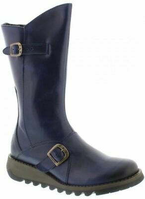 Fly london Mes 2 Blue Leather Womens Mid Calf Boots