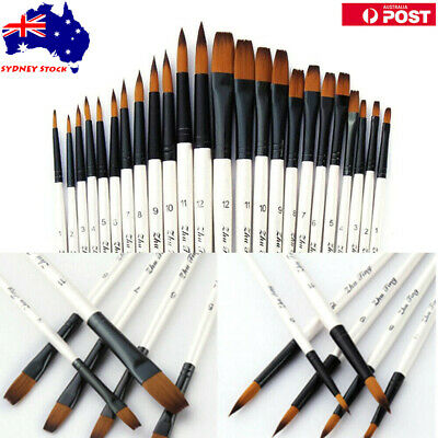 12/24/36PCS Artist Paint Brush Round Flat Filber Watercolor Acrylic Oil Painting