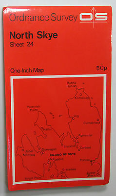 1972 old vintage OS Ordnance Survey one-inch Seventh Series Map 24 North Skye