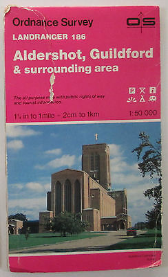 old vintage 1988 OS Ordnance Survey Landranger map 186 Aldershot Guildford etc