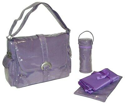 Kalencom Laminated Buckle Changing Bag - Purple Corduroy